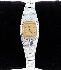 "Seiko Square Watch in Sterling Silver Nugget Style 7.25"" Adjustable Wrist Watch"