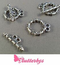 3 Sets tibetan silver double string Toggle & Ring Clasps, Jewellery Making