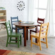 Lipper Childrens Walnut Round Table and 4 Chairs, Walnut (Table)