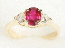 Heart Diamonds 18K Yellow Gold Ring Size 5.25 ¾ Ct Genuine Ruby + 1/3 Ct Tw