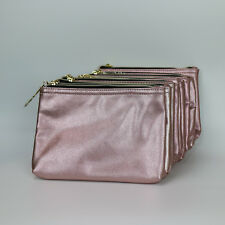New! Wholesale Lot of 10 x Lancome Gold Faux Leather Cosmetic Makeup Bag Zipper