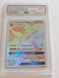Pokemon Burning Shadows PSA 9 Charizard, Secret Rainbow Rare - 150/147