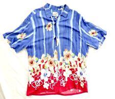 Vtg JAMS WORLD Rayon Hawaiian Shirt XL Purple / Blue with red Polynesian Flowers