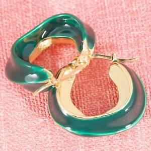 Wedding Party C Shape Circle Enamel Alloy Irregular Vintage Open Hoop Earrings