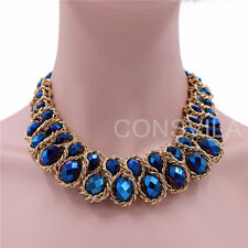 Gold  Plated Chain Blue Crystal Beads Women Statement Choker Necklaces