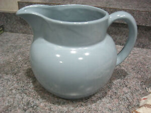 "Vintage Bybee Pottery ball pitcher light blue 6"" tall"