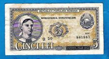 More details for romania p83b 5 lei girl & arms ministry of finance blue series 1952 vf+ rare