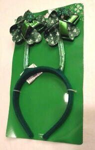 Headband Green Spinning Shamrocks Felt Happy St Patricks Day Fun Accessory NIP
