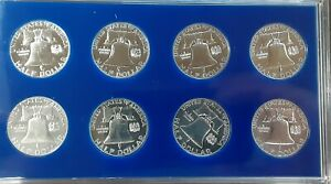 1956 -1963 Franklin Half Dollar Set Of 8 Some Cameos..GORGEOUS SET!!