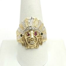 10k Two Tone Gold Ruby Emerald Indian Chief Headdress Diamond Cut Mens Ring