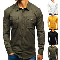 Mens Long Sleeve Cargo Shirt Work Cotton Shirt Double Pockets Solid Slim Casual