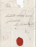 1786 London & Scots Bishopmarks on Old wrapper sent to Edinburgh sword in seal