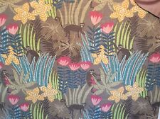 MONKIES IN A VIBRANT JUNGEL FLORAL PRINTED LINEN  WITH DRAPERY UPHOLSTERY FABRIC