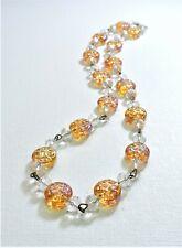 Vintage Orange Iridescent Lampwork Art Glass Bead Necklace FE20BN140