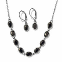 "Simulated Black Diamond Steel Earrings and Necklace Set With Chain 18"" Cttw 7.1"