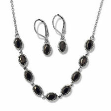 """Simulated Black Diamond Steel Earrings Necklace Set With Chain 18"""" Ct 7.1"""