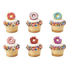 Donut Sprinkles Doughnut cupcake rings (24) cake topper 2 dozen