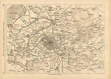 Paris, France, Map Of The Vicinity Around Paris, Vintage 1871 German Antique Map