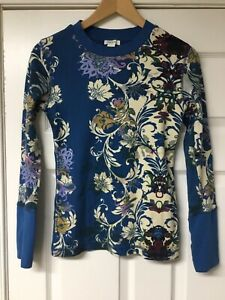 SUNDANCE Size Small S Waffle Knit Thermal Top Bellport Floral Cuff Detail Shirt