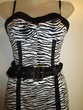 Guess 3 Ultra Mini Dress or Top Black White Zebra Print Belt Bodycon Club Party