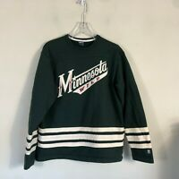 Vintage Minnesota Wild Crew Neck Sweatshirt Men's L Green Long Sleeve EUC