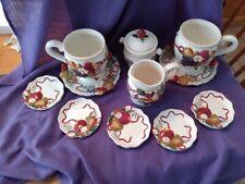 "Bella Casa Ganz Raised Fruit Mugs, Saucers, Cream/Sugar Bowl , 5 small plates 4"""