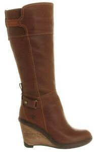 Womens Ladies Timberland Stratham Brown Leather Zip Up Tall Boots Size UK 3.5