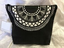 Shiraleah Black & White Canvas Cotton Zippered Cosmetic travel Bag case NEW