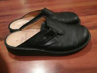 Finn Comfort Womens Black Leather Backless Clogs Mules Size 10 Made in Germany
