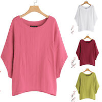 Women Short Sleeve T-Shirt Plus Batwing Asymmetrical Tee Shirt Tops Plain Blouse