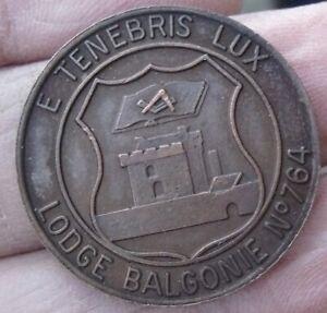 A MASONIC SCOTTISH MARK TOKEN PENNY, LODGE BALGONIE E. LODGE NO.764 TENEBRIS LUX