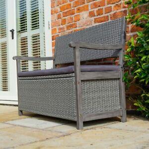 Rowlinson Alderley Rattan Garden Bench with built in Storage