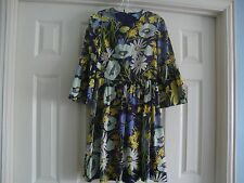 Rebecca Taylor Purple & Yellow vibrant Floral print bell sleeve Dress 4