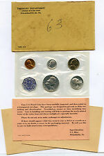 1963 US Proof Set in Original Cellophane and Envelope, All Packing as Shown