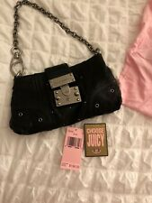 Juicy Couture Black Leather Studded Clutch Bag With Chain $198
