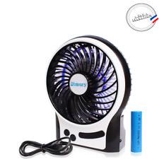 Mini Ventilateur Portable Rechargeable USB 3 Vitesses Eclairage Bleu Air Frais