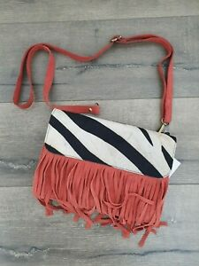 Gringo Fairtrade Orange Suede Leather Tassel Shoulder Bag - Faulty