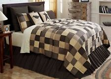 Country Block Patchwork Queen Quilt Hand-Stitched Cream Tan Black Kettle Grove