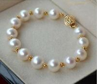 Gorgeous AAA 11-12mm real natural South sea white Round pearl bracelet 14K clasp
