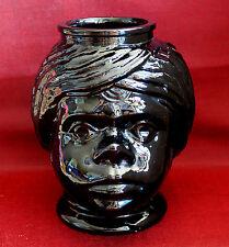 Mohrenkopf-Vase / schwarze Glas-Vase / Skulptur / Kunst-Objekt / 20 cm hoch
