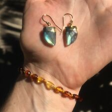 Triangle Shaped Labradorite, Moonstone,Turquoise Stone Gold Filled Hook Earrings