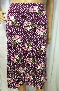 New, Bonmarche Women's Purple Floral Print, Jersey A-Line Midi Skirt, Size 12-26