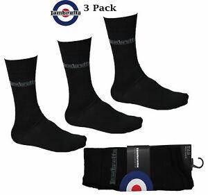 Lambretta Men's Multi-Pack Black Ankle Socks UK 6-16 Cotton Rich Casual
