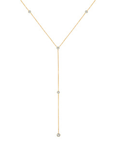 14K Yellow Gold Lariat Necklace With Y-Style Round White Topaz 20 Inches