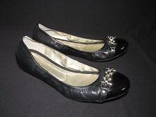 Banolino NEW Black Patent Leather Ballet Flat Slip On Gold  US 9.5M