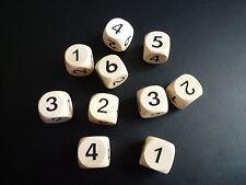 10 Zahlenwürfel Holz 1-6, natur/schwarz 16 mm  -  NEU