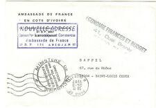 LETTRE en franchise 1987 AMBASSADE FRANCE COTE D'IVOIRE