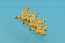 14k Solid 3D Yellow Gold Flying Geese w/ Ruby Eye Pin Brooch 19.3g, Mint