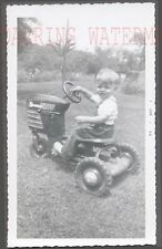 Vintage Snapshot Photo Cute Boy w/ Murray Trac Tractor Pedal Car Toy 728012