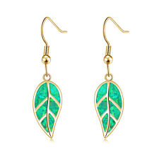 Leaf White Fire Opal Women Jewelry Gemstone Yellow Gold Dangle Earrings OH4745